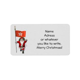 Santa Claus With Ensign Of Hong Kong Label