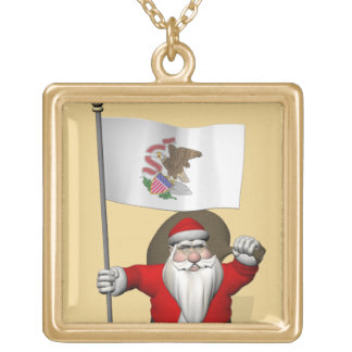 Santa Claus With Ensign Of Illinois Gold Plated Necklace