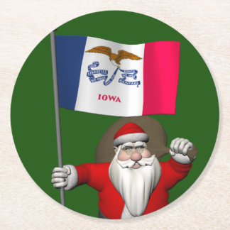 Santa Claus With Ensign Of Iowa Round Paper Coaster