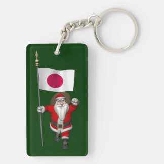 Santa Claus With Ensign Of Japan Double-Sided Rectangular Acrylic Key Ring
