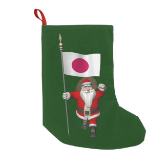 Santa Claus With Ensign Of Japan Small Christmas Stocking