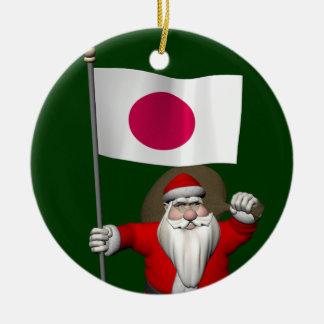 Santa Claus With Ensign Of Japan Round Ceramic Decoration
