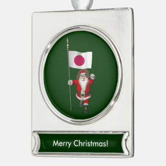 Santa Claus With Ensign Of Japan Silver Plated Banner Ornament