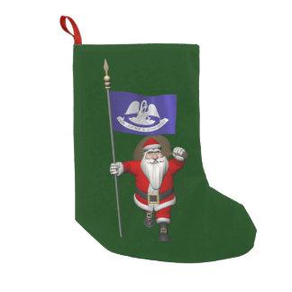 Santa Claus With Ensign Of Louisiana Small Christmas Stocking