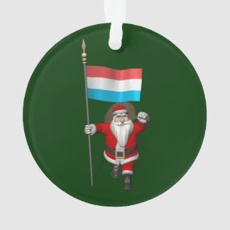 Santa Claus With Ensign Of Luxembourg Ornament