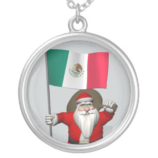 Santa Claus With Ensign Of Mexico Silver Plated Necklace