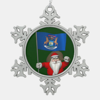 Santa Claus With Ensign Of Michigan Snowflake Pewter Christmas Ornament
