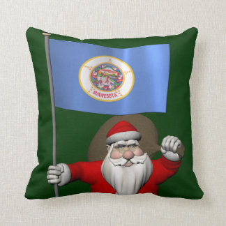Santa Claus With Ensign Of Minnesota Cushion