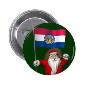 Santa Claus With Ensign Of Missouri 6 Cm Round Badge