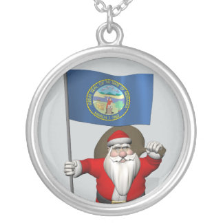 Santa Claus With Ensign Of Nebraska Silver Plated Necklace