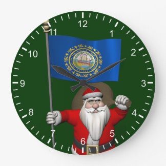 Santa Claus With Ensign Of New Hampshire Wall Clock