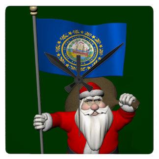 Santa Claus With Ensign Of New Hampshire Wall Clocks