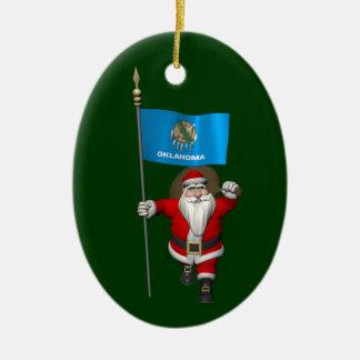 Santa Claus With Ensign Of Oklahoma Ceramic Ornament