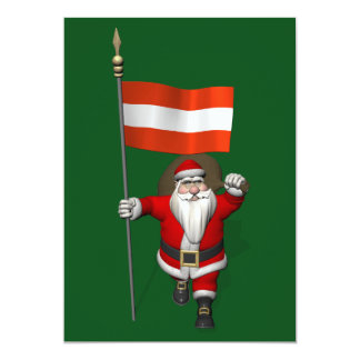 Santa Claus With Ensign Of Österreich Austria 13 Cm X 18 Cm Invitation Card