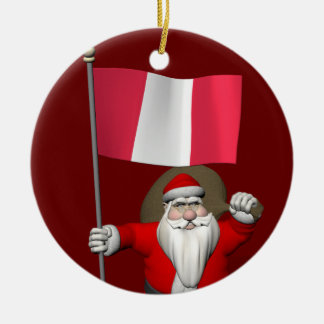 Santa Claus With Ensign Of Peru Ceramic Ornament