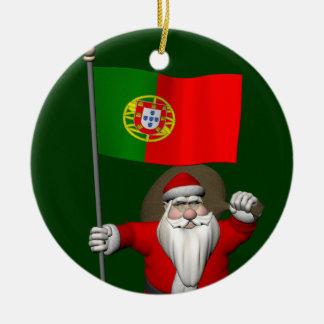 Santa Claus With Ensign Of Portugal Round Ceramic Decoration