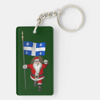 Santa Claus With Ensign Of Québec CDN Double-Sided Rectangular Acrylic Key Ring