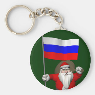 Santa Claus With Ensign Of Russia Basic Round Button Key Ring