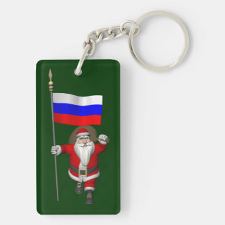 Santa Claus With Ensign Of Russia Double-Sided Rectangular Acrylic Key Ring