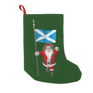 Santa Claus With Ensign Of Scotland Small Christmas Stocking