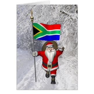 Santa Claus With Ensign Of South Africa Card