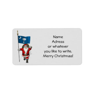 Santa Claus With Ensign Of South Carolina Label