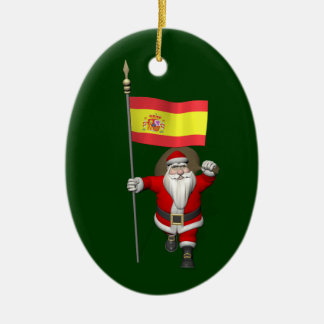 Santa Claus With Ensign Of Spain Ceramic Ornament