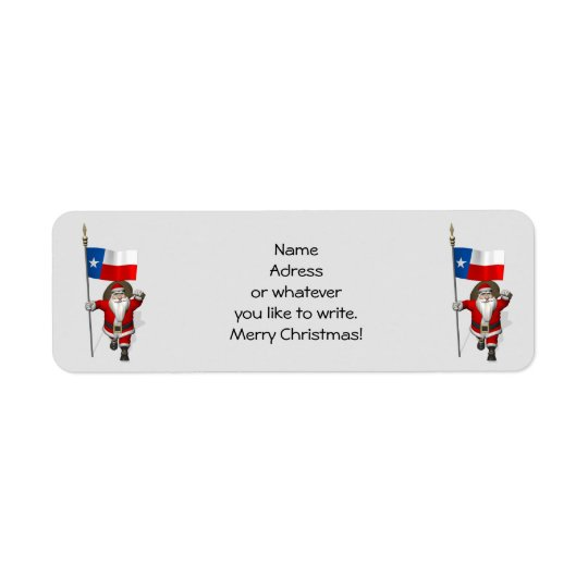 Santa Claus With Ensign Of Texas Return Address Label