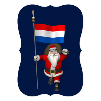 Santa Claus With Ensign Of The Netherlands Card
