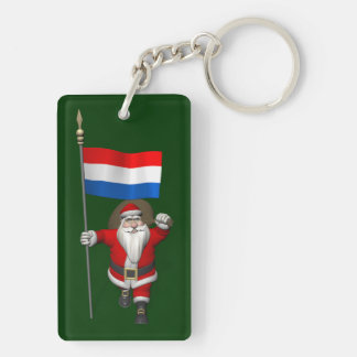 Santa Claus With Ensign Of The Netherlands Double-Sided Rectangular Acrylic Key Ring
