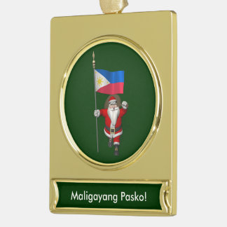 Santa Claus With Ensign Of The Philippines Gold Plated Banner Ornament