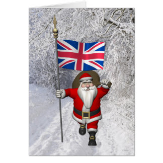 Santa Claus With Ensign Of The UK Card