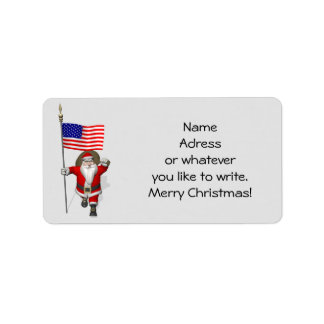 Santa Claus With Ensign Of The USA Address Label