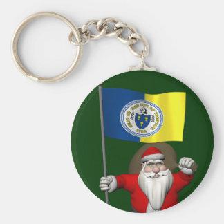 Santa Claus With Ensign Of Trenton NJ Basic Round Button Key Ring
