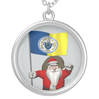 Santa Claus With Ensign Of Trenton NJ Silver Plated Necklace