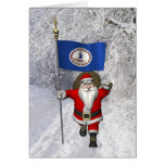 Santa Claus With Ensign Of Virginia Greeting Card
