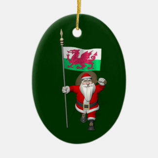 Santa Claus With Ensign Of Wales Ceramic Oval Decoration