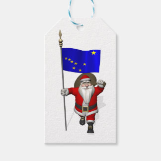 Santa Claus With Flag Of Alaska Gift Tags