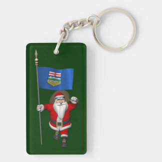 Santa Claus With Flag Of Alberta CDN Double-Sided Rectangular Acrylic Key Ring