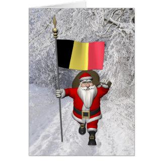 Santa Claus With Flag Of Belgium Card
