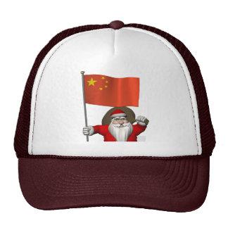 Santa Claus With Flag Of China Cap