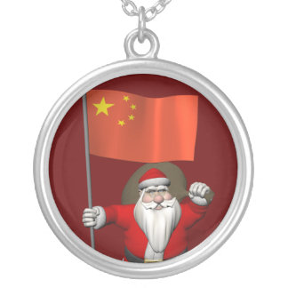 Santa Claus With Flag Of China Silver Plated Necklace