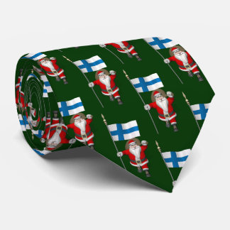 Santa Claus With Flag Of Finland Suomi Tie