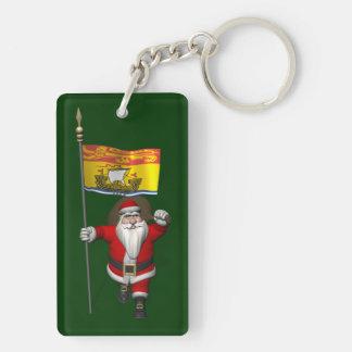Santa Claus With Flag Of New Brunswick CDN Double-Sided Rectangular Acrylic Key Ring