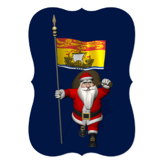 Santa Claus With Flag Of New Brunswick 13 Cm X 18 Cm Invitation Card