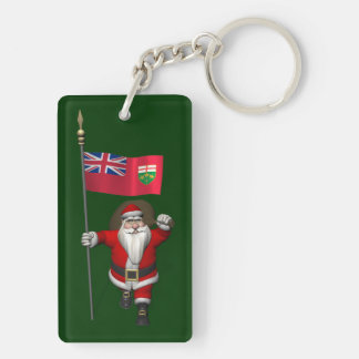 Santa Claus With Flag Of Ontario CDN Double-Sided Rectangular Acrylic Key Ring