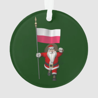Santa Claus With Flag Of Poland Ornament