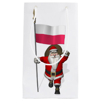 Santa Claus With Flag Of Poland Small Gift Bag