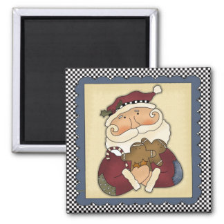 Santa Claus With Gingerbread Christmas Magnet