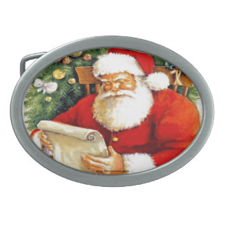 SANTA CLAUS WITH HIS LIST OVAL BELT BUCKLES